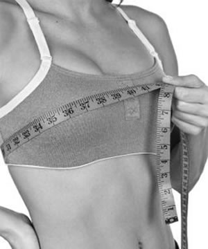 measuring for breast implants